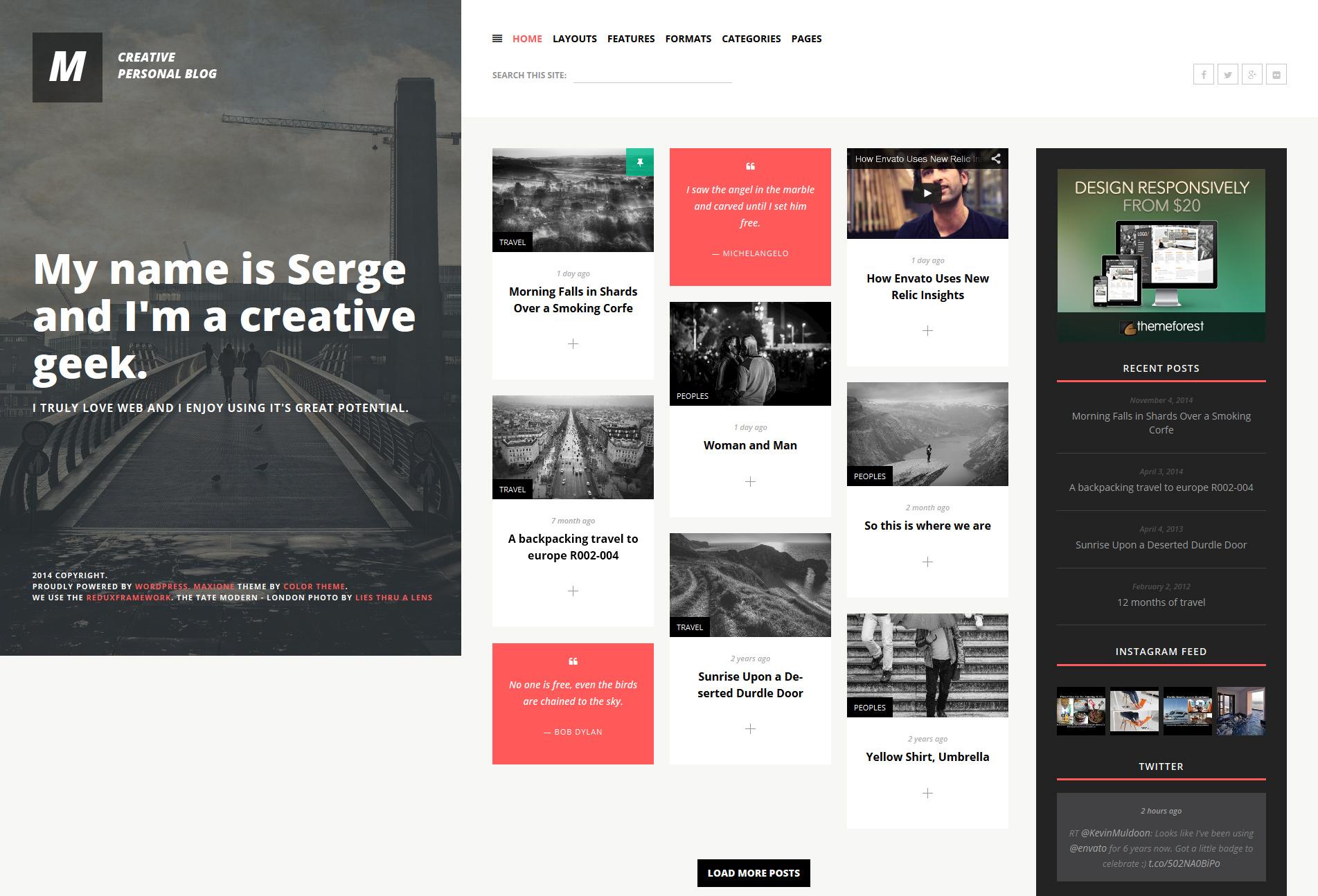 MaxiOne - Creative Personal Blog WordPress Theme by ZERGE | ThemeForest