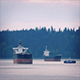 Passenger Ferry Passes Between Ships - VideoHive Item for Sale