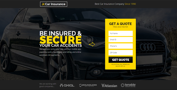 Jr. Auto Insurance – Landing Page Muse Template