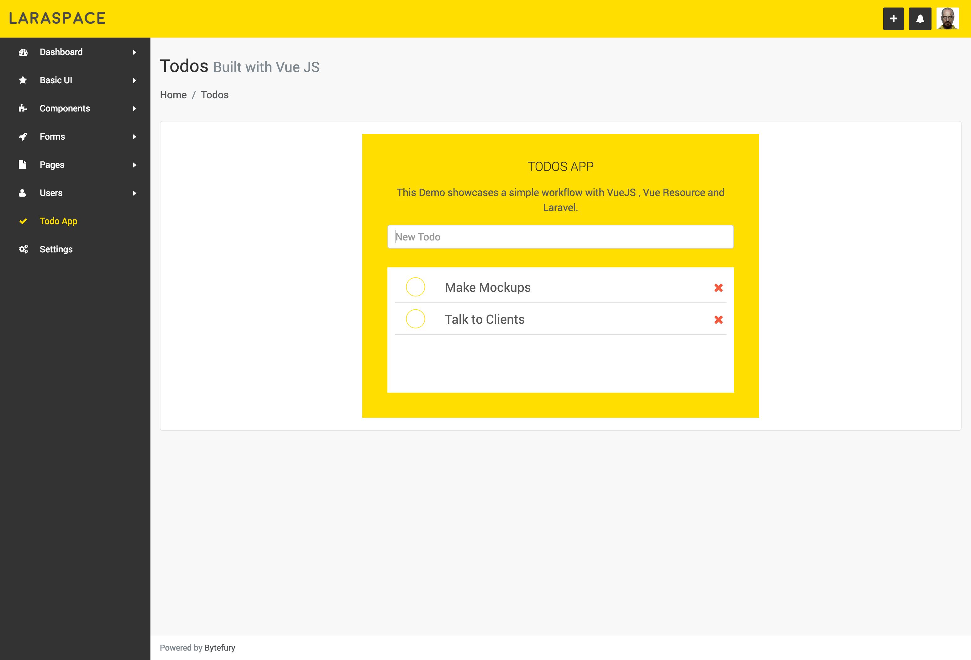 Laraspace - Laravel & VueJS Admin Template by bytefury | CodeCanyon