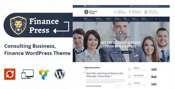 Finance Press – Consulting Business, Finance WordPress Theme