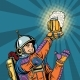 Retro Astronaut and a Mug of Beer - GraphicRiver Item for Sale