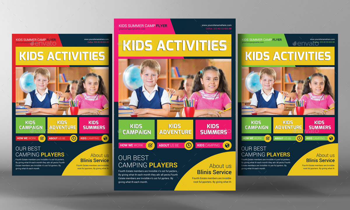 Kids school education flyer template by graphicforestnet for Free brochure templates for students