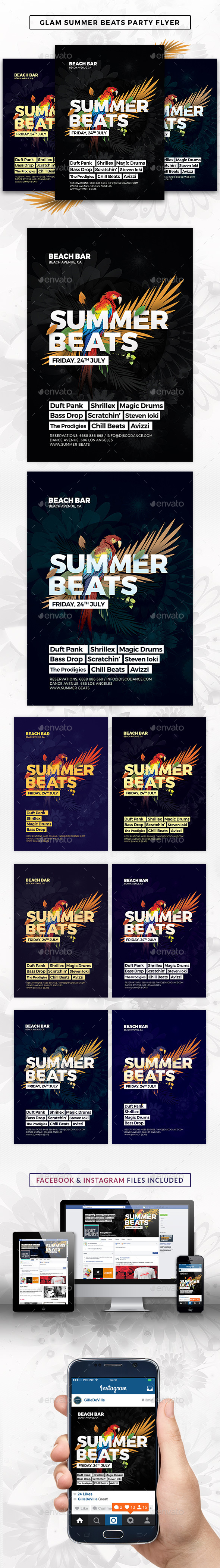 Glam Summer Beats Flyer Template - Events Flyers