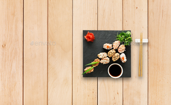 Set of sushi gunkan at wood. - Stock Photo - Images