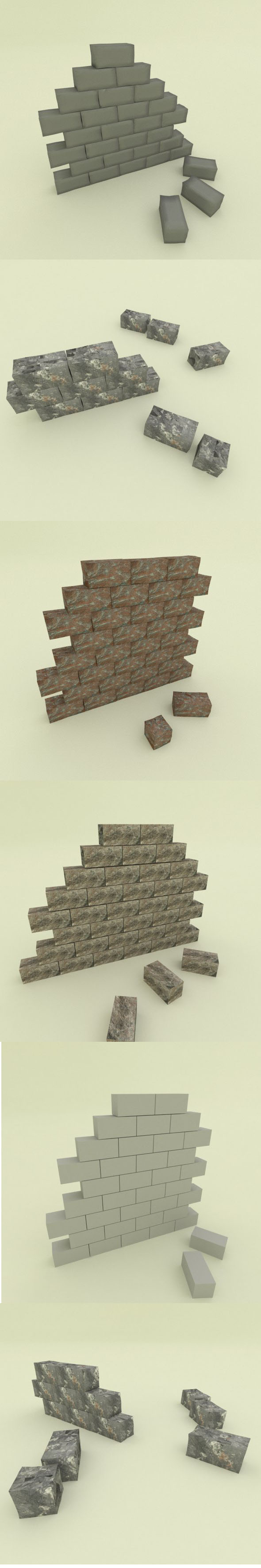 5 stone wall segments - 3DOcean Item for Sale