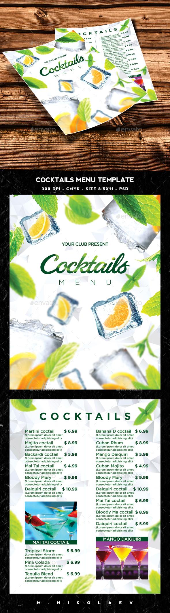 Cocktail Drinks Menu V9
