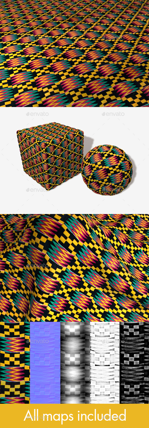 African Fabric Seamless Texture - 3DOcean Item for Sale
