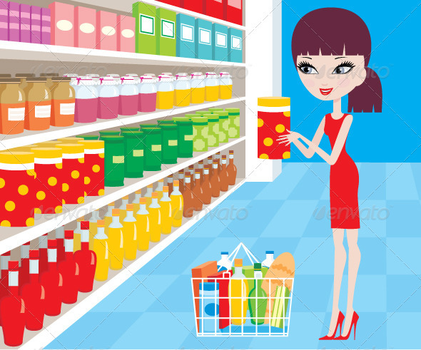 Woman Cartoon in a Supermarket - Commercial / Shopping Conceptual