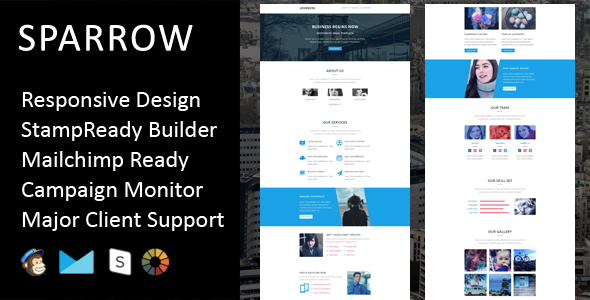 Sparrow - Multipurpose Responsive Email Template + Stampready Builder - Email Templates Marketing