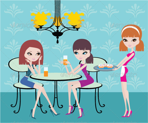 Friends in Cafe and the Waitress - Characters Vectors