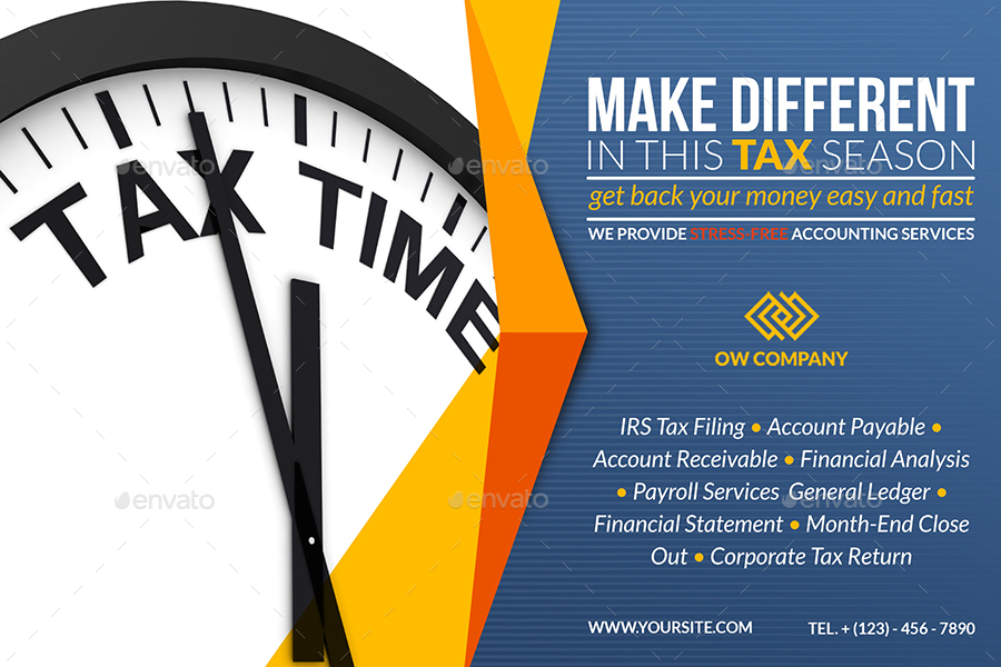 tax and accounting postcard template by owpictures