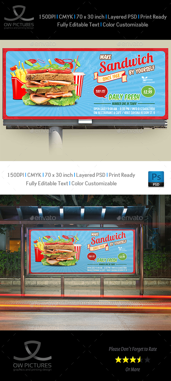Sandwich Restaurant Billboard Template