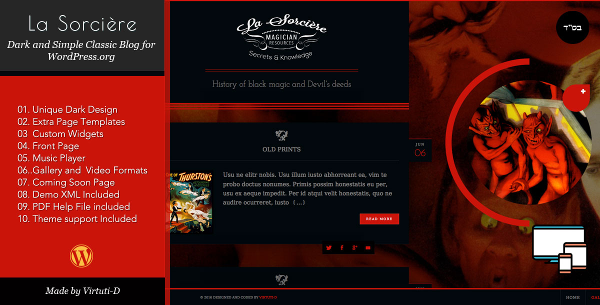 La Sorcière–Dark Magic Blogging WordPress Theme