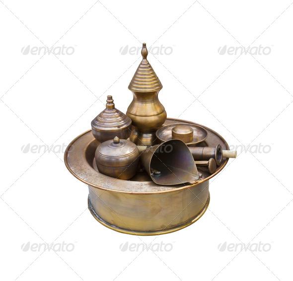 Antique brass pots - Stock Photo - Images
