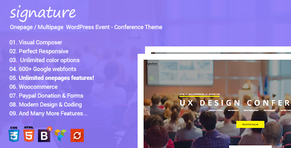 Signature - Responsive Onepage | Multipage Conference Event  WordPress Theme - Events Entertainment