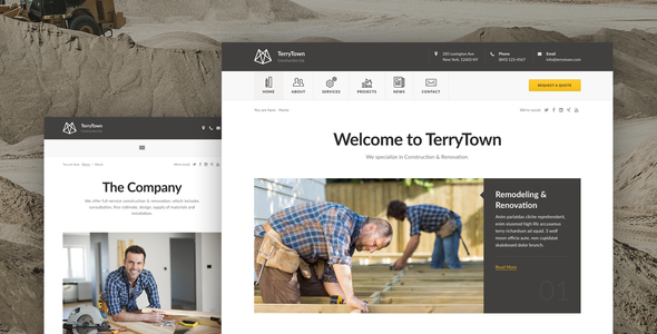 Terrytown - Construction & Renovation HTML5 Template - Corporate Site Templates