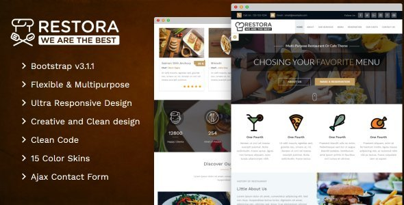 Restora – A Responsive Multipurpose Restaurant Or Cafe Theme
