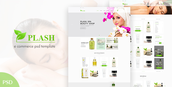 Plash Spa - eCommerce PSD Template - Health & Beauty Retail