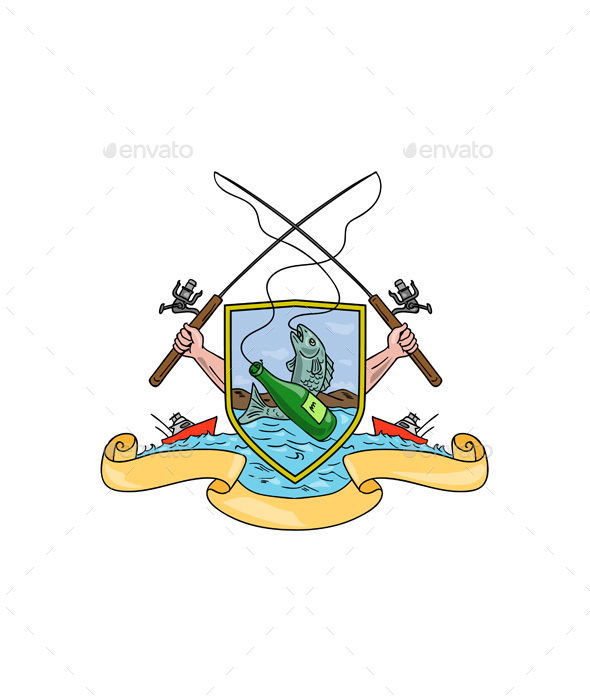 Fishing and Beer Bottle Coat of Arms Drawing - Man-made Objects Objects