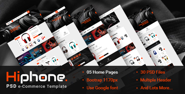 HiPhone - eCommerce PSD Template - Retail PSD Templates