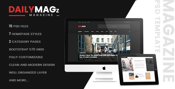 DailyMagz – Newspaper, Magazine & Blog PSD Template