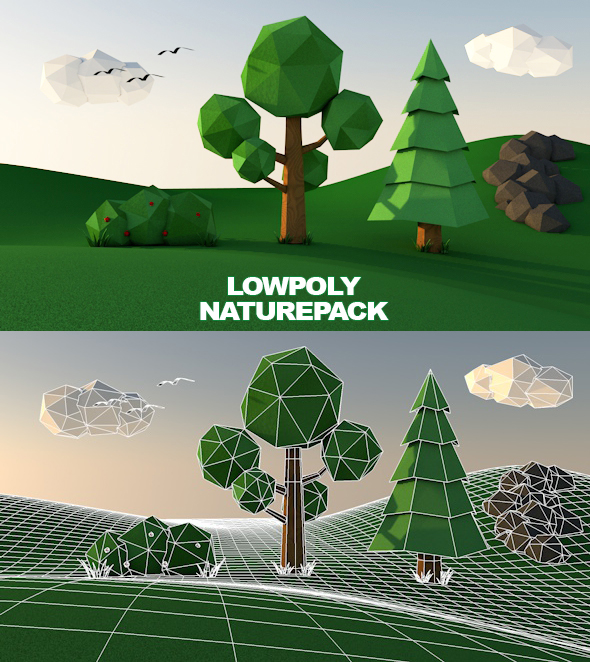 Low poly nature tree pack 1 - 3DOcean Item for Sale