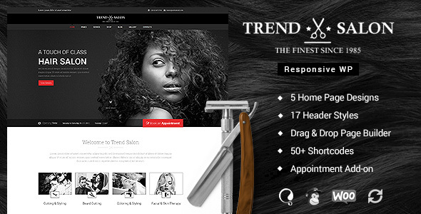 Trend Salon – WordPress Theme for  Hair Style and Beauty Salons