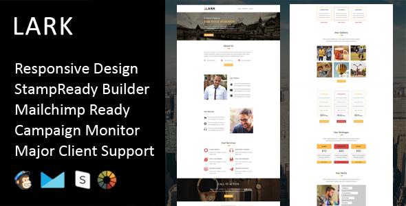 Lark - Multipurpose Responsive Email Template + Stampready Builder - Email Templates Marketing