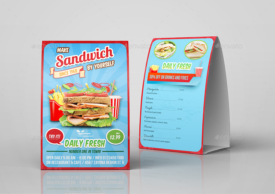 Sandwich Restaurant Table Tent Template By Owpictures | Graphicriver