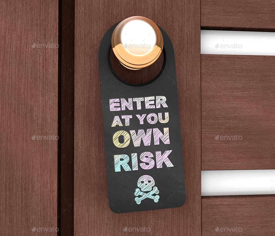 Chalkboard Door Hanger Mock-Ups by StreetD   GraphicRiver