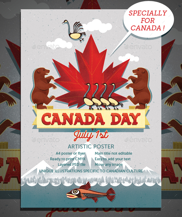 canada day canadian event a4 poster flyer by joiaco graphicriver. Black Bedroom Furniture Sets. Home Design Ideas