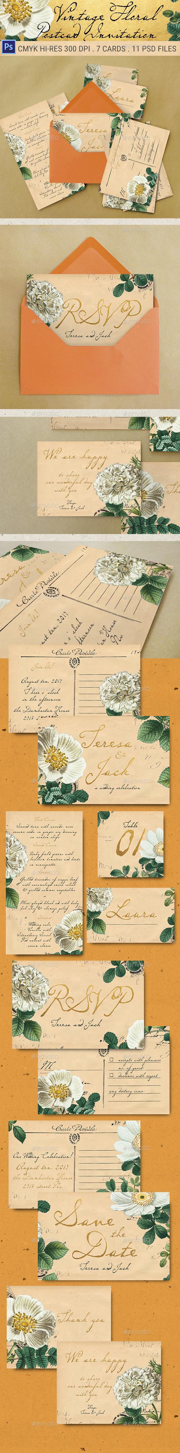 Vintage Floral Postcard Wedding Invitation Package