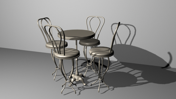 Cafe Table and Chairs - 3DOcean Item for Sale