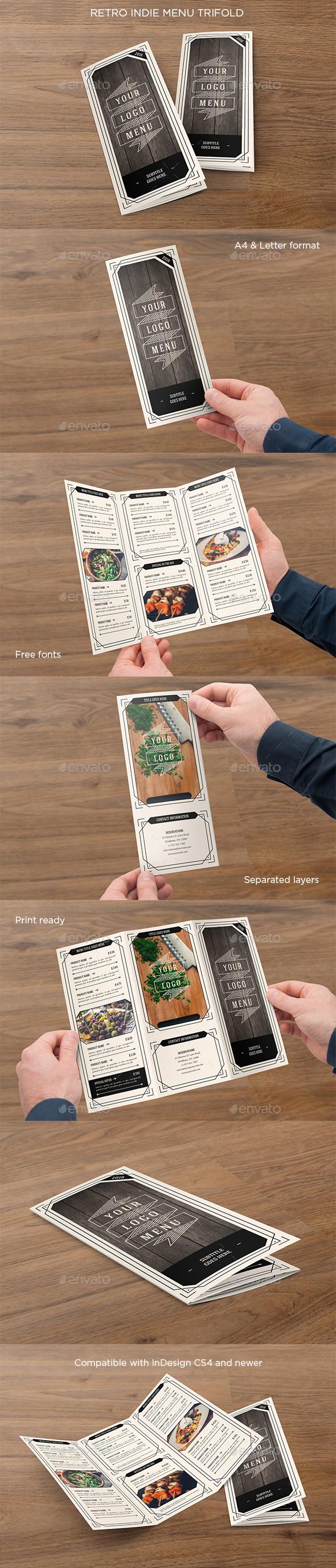 Retro Indie Menu Trifold - Food Menus Print Templates