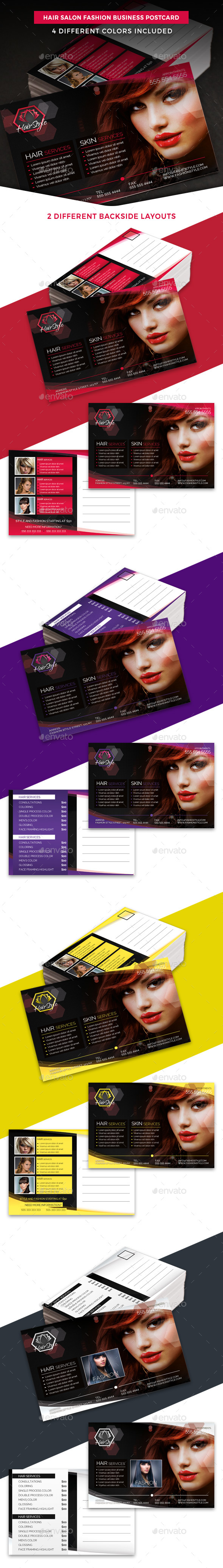 Hair Salon Fashion Business Postcard Template By Hollymolly Graphicriver