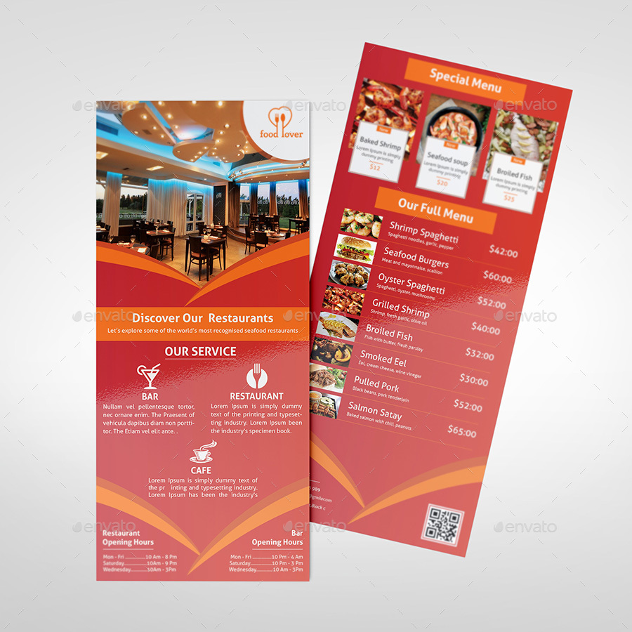 restaurant rack card template by morsed55 graphicriver. Black Bedroom Furniture Sets. Home Design Ideas