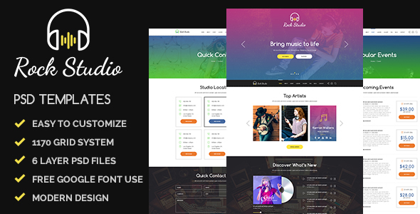 Rock Studio – Music, Playback and Events Psd Templates