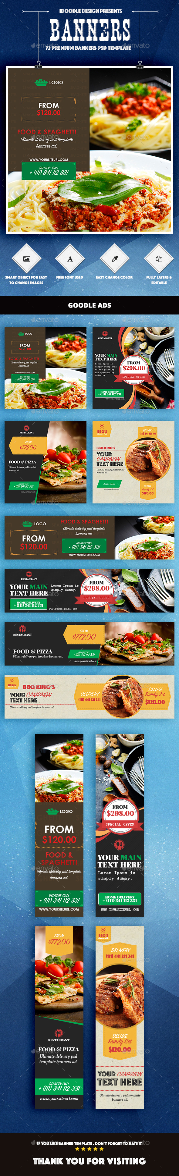 Bundle - Food & Restaurant Banners Ad - 72 PSD [04 Sets]