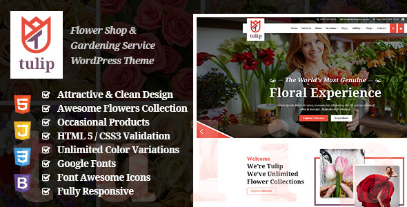 Tulip - Flower Shop & Gardening Service WordPress Theme