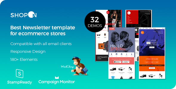 Shopon – Newsletter Template for Ecommerce Websites + Stampready Builder