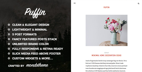Puffin - A Responsive WordPress Blog Theme - Personal Blog / Magazine