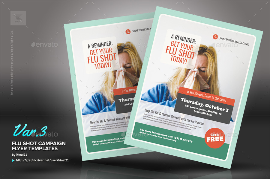 Flu Shot Campaign Flyer Templates By Kinzi21 Graphicriver
