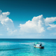Lonely Boat At Blue Sea - VideoHive Item for Sale