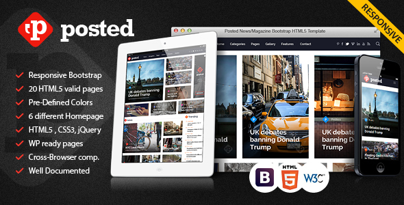 Posted News/Magazine Bootstrap HTML5 Template