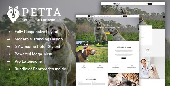 Petta – Responsive Joomla Template for Pet Care Service Shop