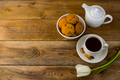 Tea cup, cookies  and teapot on wooden background, copy space - PhotoDune Item for Sale
