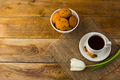 Tea cup and biscuits on sackcloth, top view - PhotoDune Item for Sale