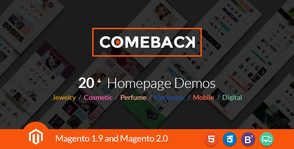 Comeback – Magento 1.9 & Magento 2.0 for Electronic,Market media,Audio, Perfume & Jewellery Stores