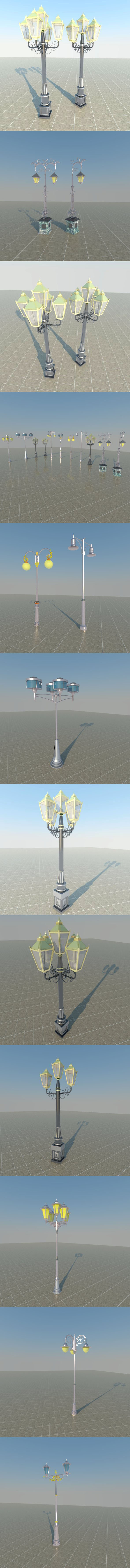 lampposts street lamp COLLECTION - 3DOcean Item for Sale